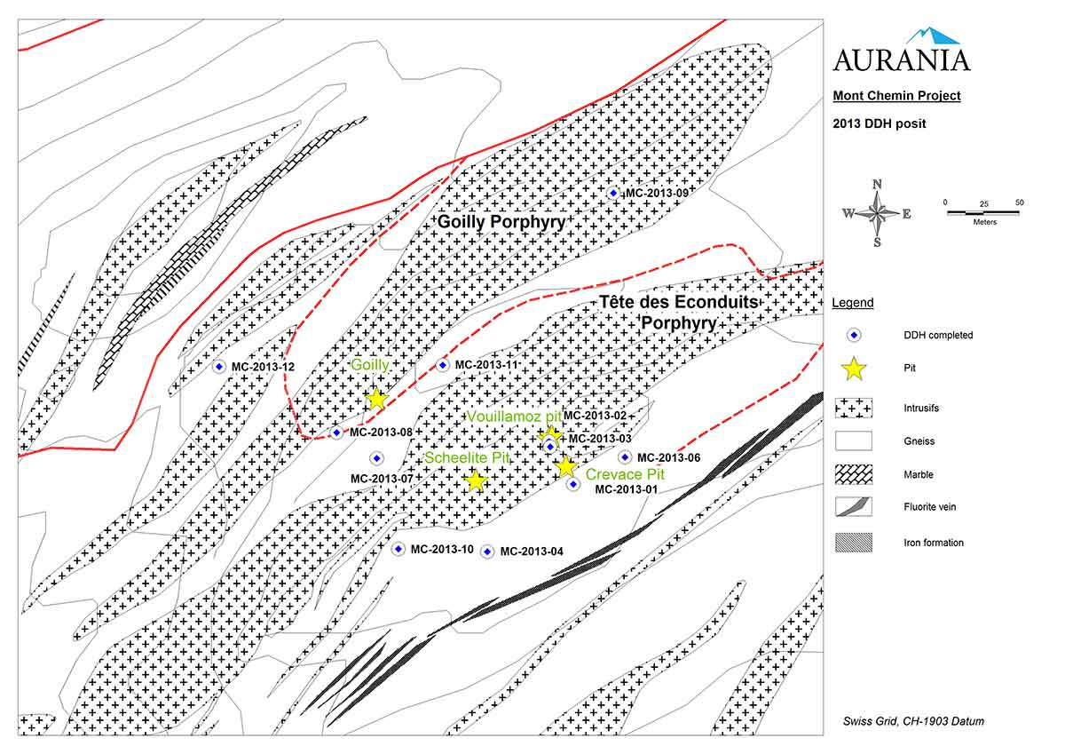 Mont Chemin Drill Hole Map