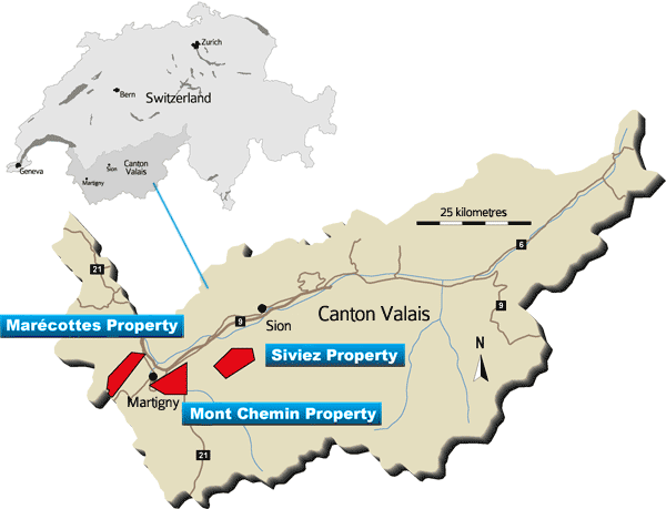 Aurania's Projects in Canton Valais, Switzerland