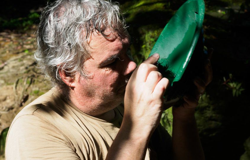 Jean-Paul Pallier panning for gold in Ecuador
