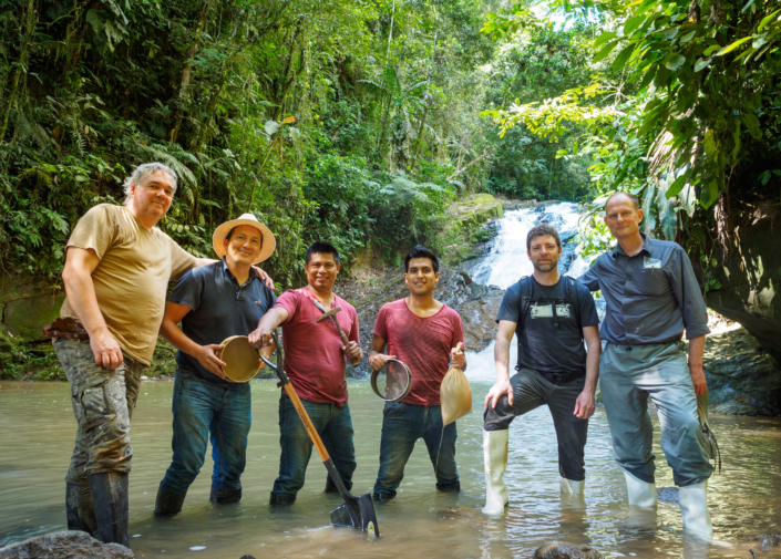 Stream sediment sampling training team