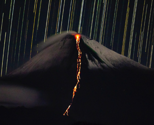 Sangay Volcano at Night